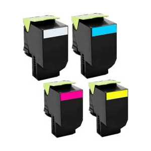 Remanufactured Lexmark C540H1KG, C540H1CG, C540H1MG, C540H1YG toner cartridges, 4 pack