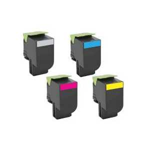 Remanufactured Lexmark 701X, 70C1XK0, 70C1XC0, 70C1XM0, 70C1XY0 toner cartridges, Extra High Yield, 4 pack