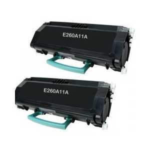 Remanufactured Lexmark E260A11A toner cartridges, High Yield, 2 pack