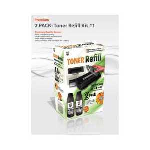 Toner Refill #1 for HP and Canon - 2 PACK - Uni-Kit Bulk Toner